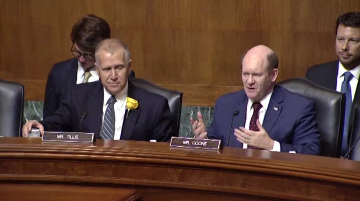 """Senator Tillis, Chairman, and Senator Coons, Ranking Member, welcome the participants of the """"State of Patent Eligibility in America"""" hearing."""""""